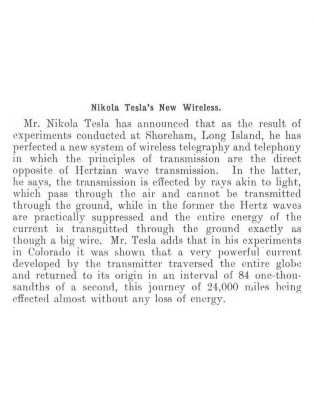 Preview of Nikola Tesla's New Wireless article