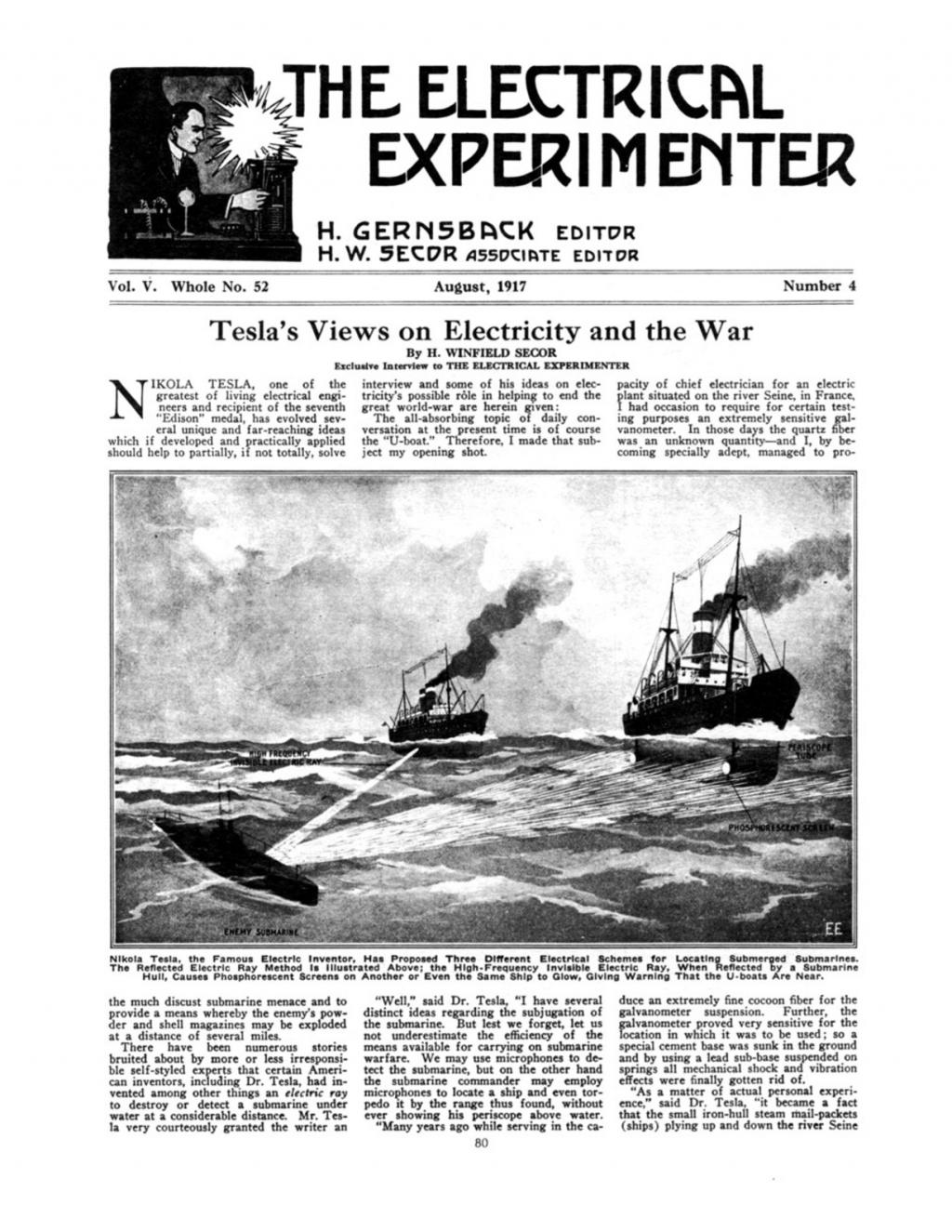 Preview of Tesla's Views on Electricity and the War article