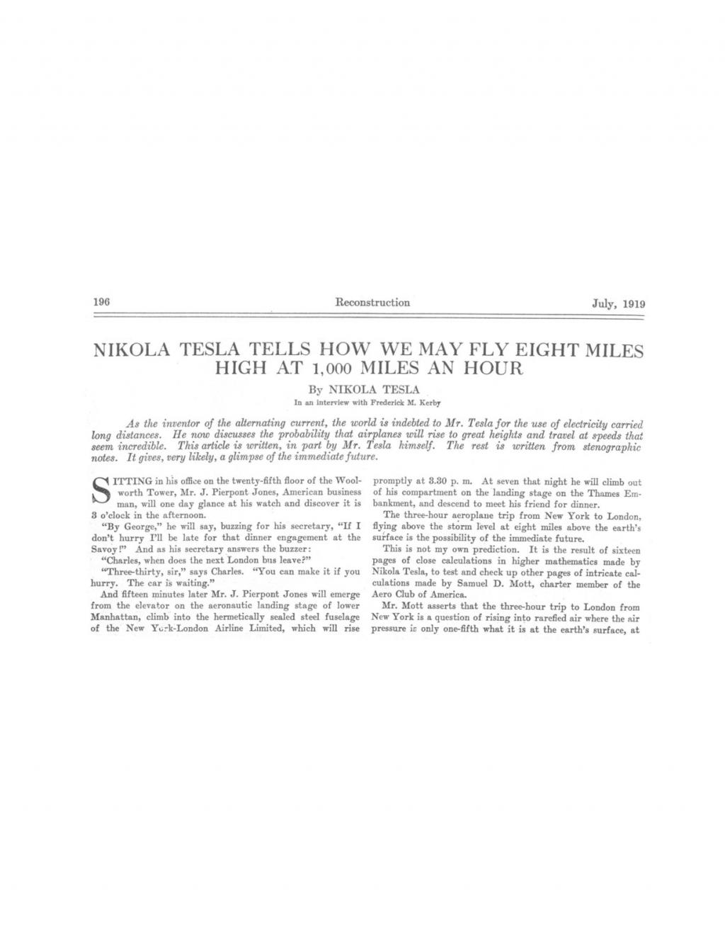 Preview of Nikola Tesla Tells How We May Fly Eight Miles High at 1,000 Miles an Hour article