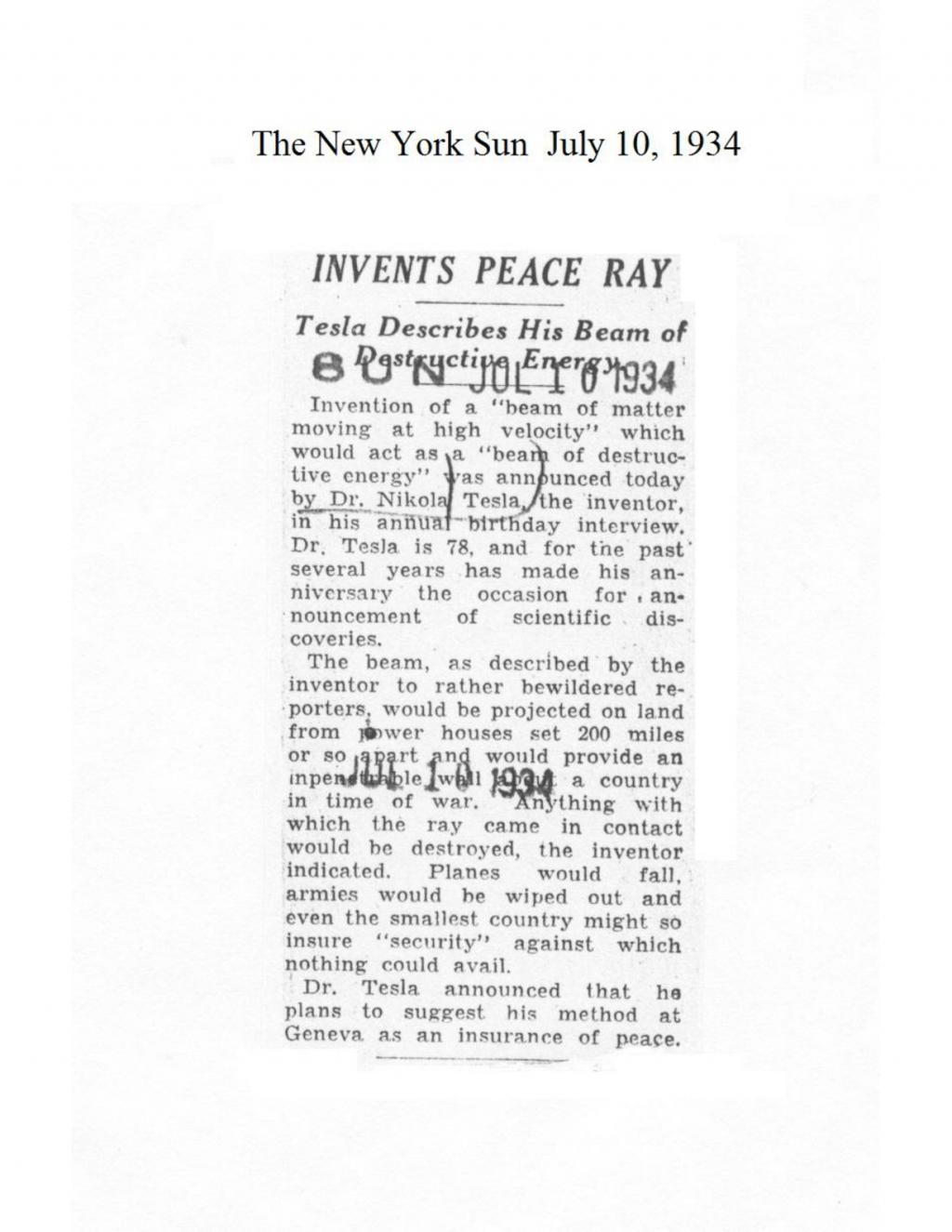 Preview of Invents Peace Ray article
