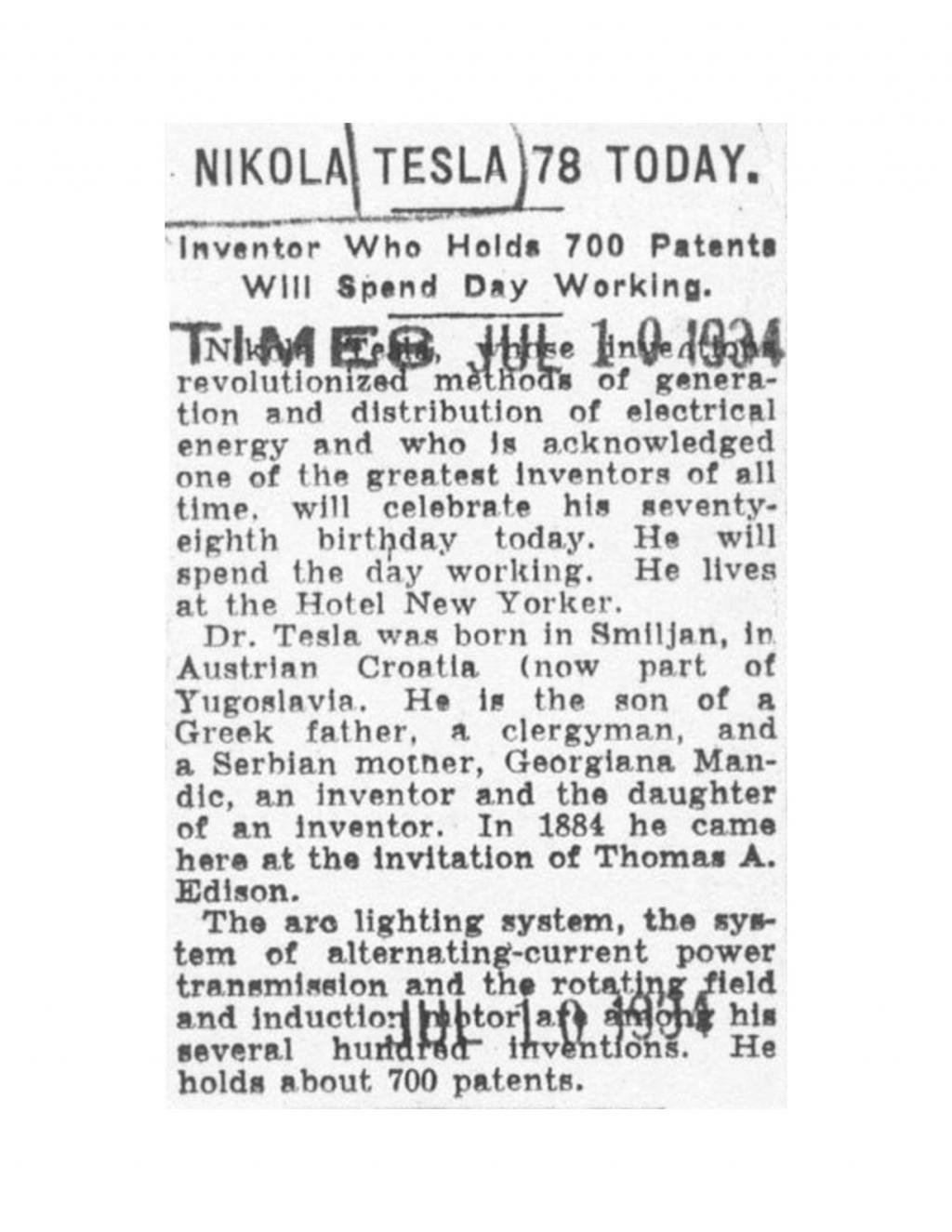 Preview of Nikola Tesla 78 Today article
