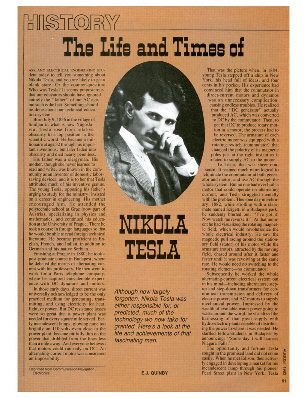 Preview of The Life and Times of Nikola Tesla article