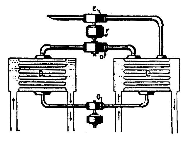 Tesla diagram relating to turbine operating by fluid temperature differential