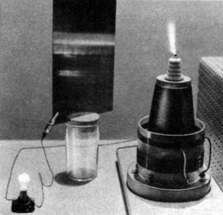 Tesla coil wireless power experiment receiver.