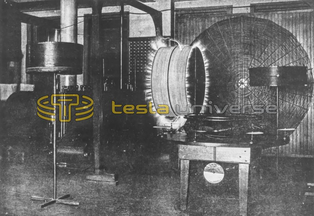 Energized resonating coil in Tesla's Houston St. lab