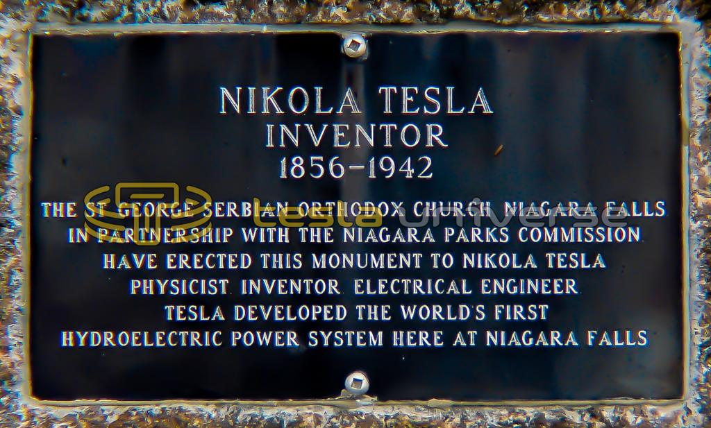 The plaque on the base of the Queen Victoria Park Tesla statue