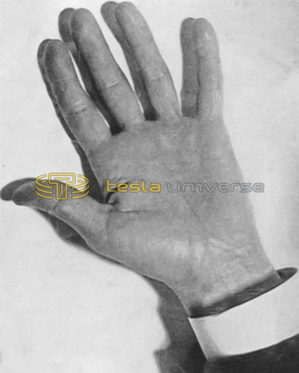 The hand of Nikola Tesla, photographed by his wonderful artificial daylight