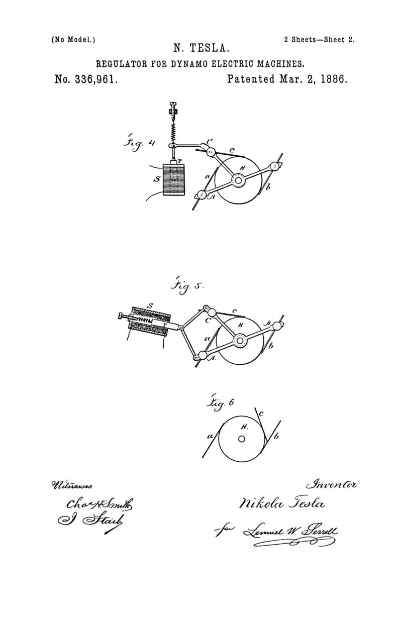 Nikola Tesla U.S. Patent 336,961 - Regulator for Dynamo-Electric Machines - Image 2