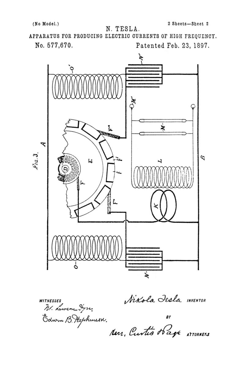 Nikola Tesla U.S. Patent 577,670 - Apparatus for Producing Electric Currents of High Frequency - Image 2