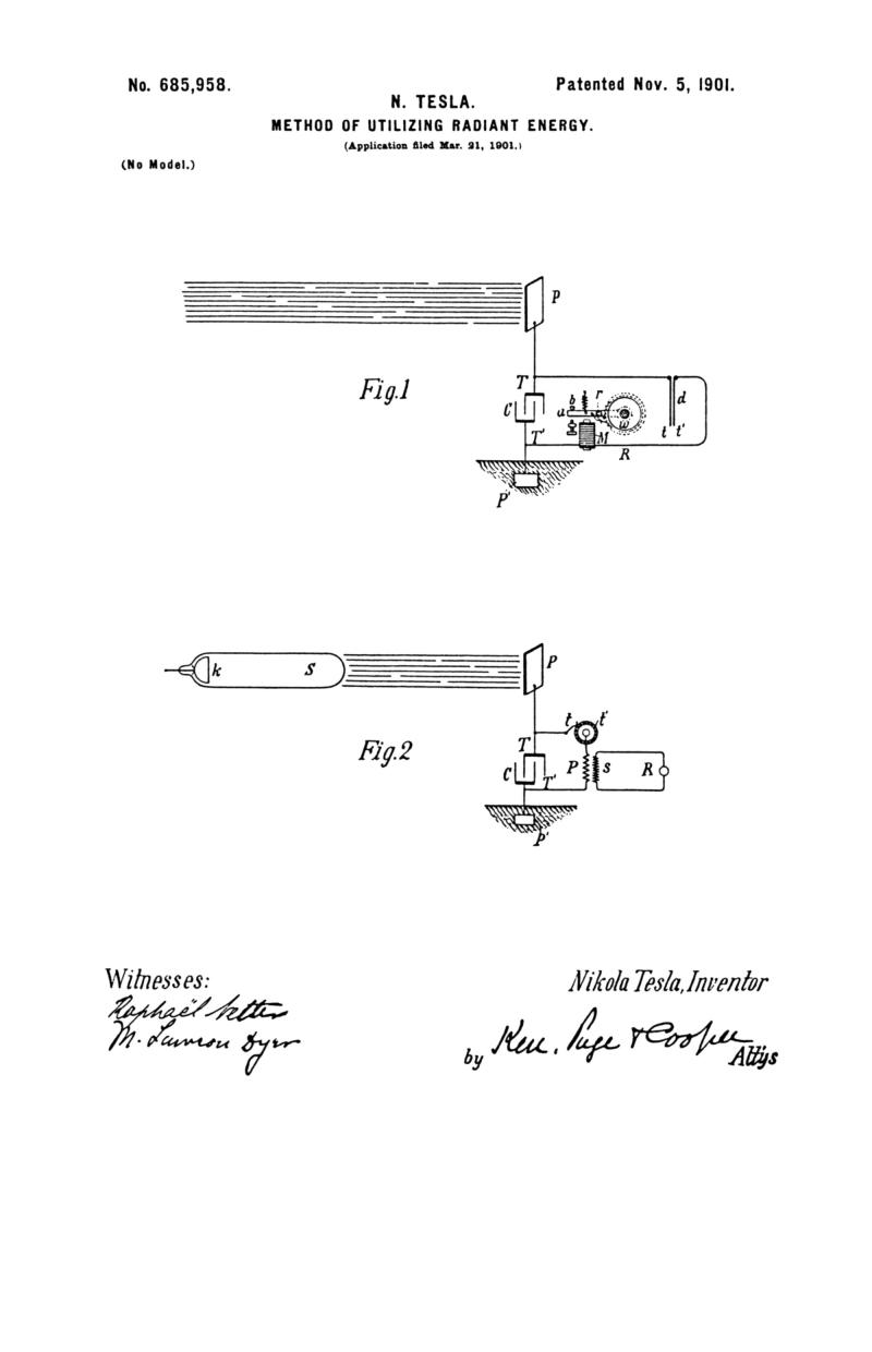 Nikola Tesla U.S. Patent 685,958 - Method of Utilizing of Radiant Energy - Image 1