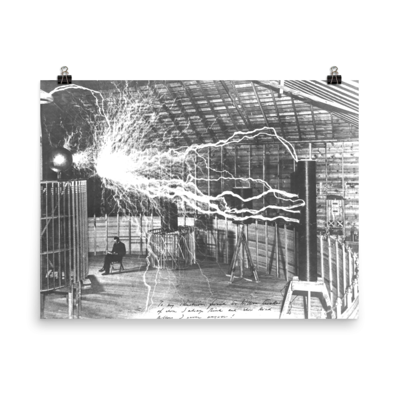 Nikola Tesla in his Colorado Springs Experimental Station - 18×24
