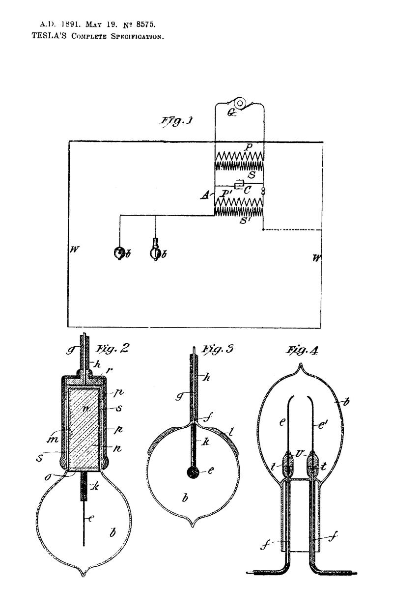 Nikola Tesla British Patent 8575 - Improved Methods of and Apparatus for Generating and Utilizing Electric Energy for Lighting Purposes - Image 1