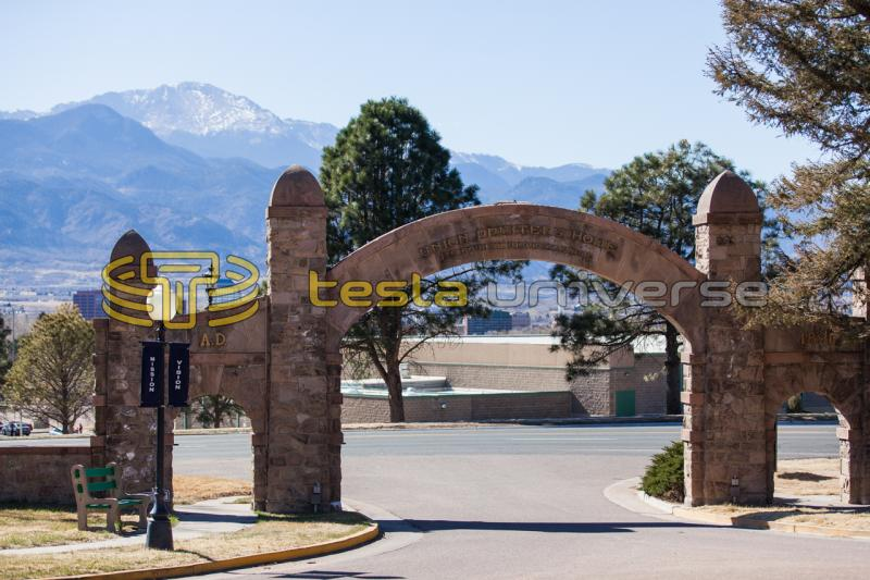 The entrance to Union Printers Home with Pikes Peak in the background.
