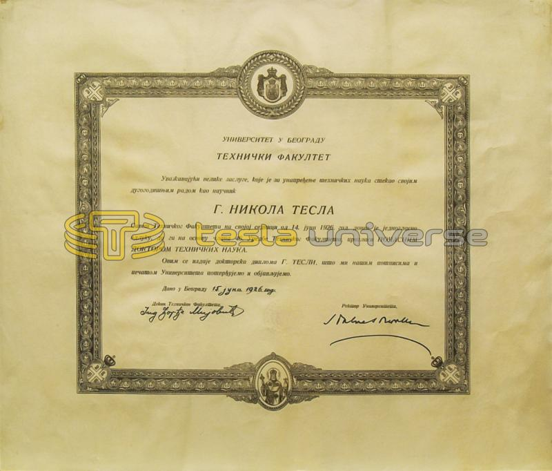Certificate of honorary doctorate awarded to Tesla from the University of Belgrade