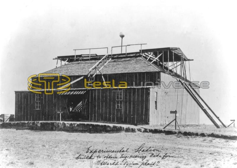 Exterior view of Tesla's Colorado Springs Experimental Station w/ lowered ball
