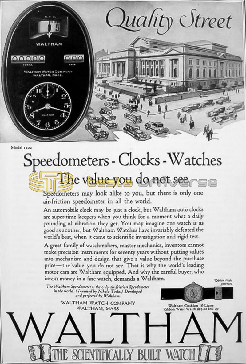 A Waltham Company advertisement featuring the Tesla speedometer