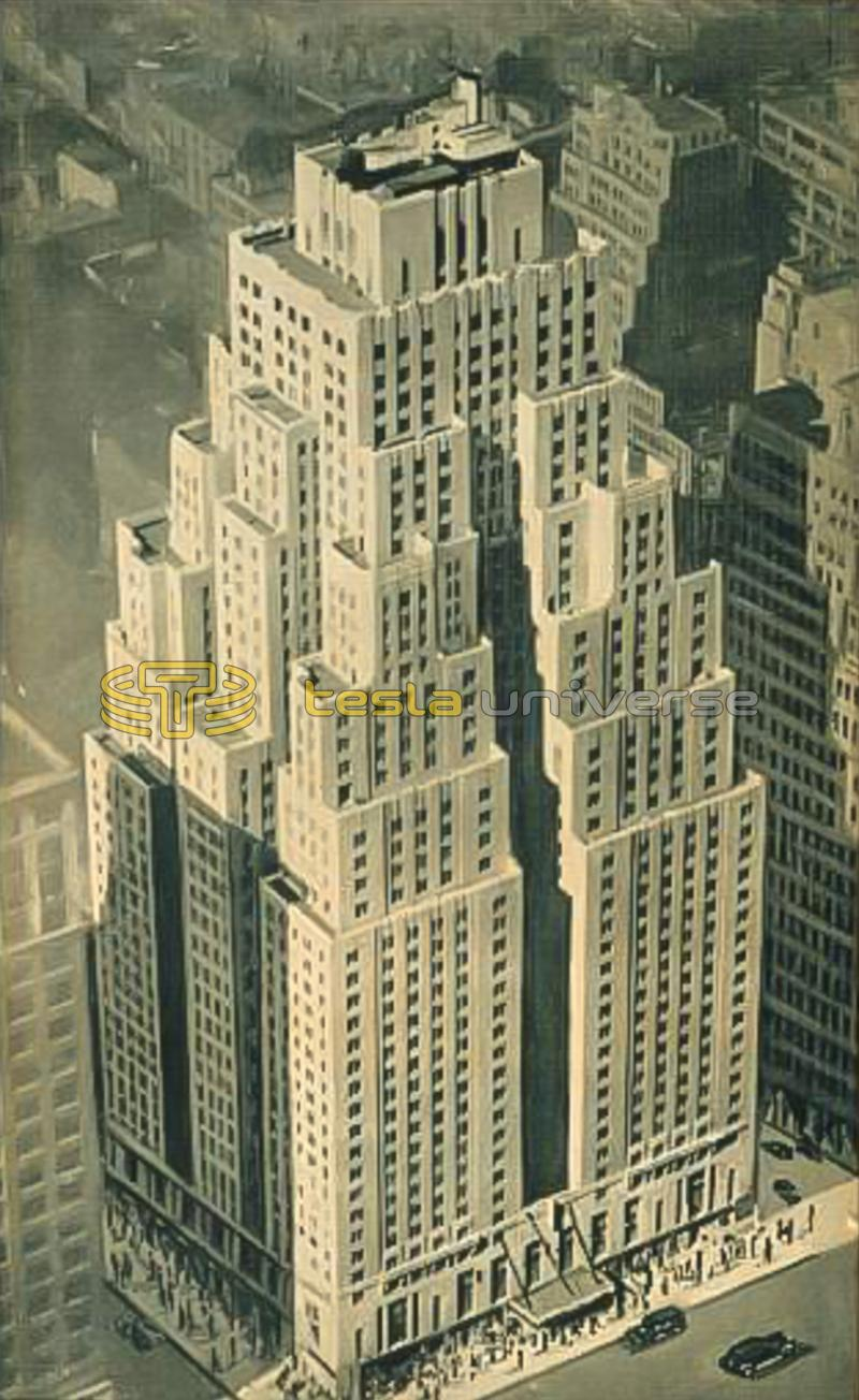 An aerial view of the Hotel New Yorker, Tesla's home for his final years