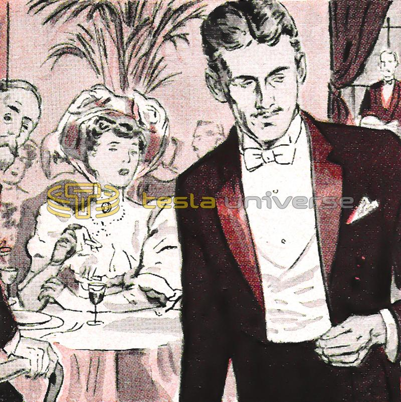 Illustration of Nikola Tesla appalled by women's pearls