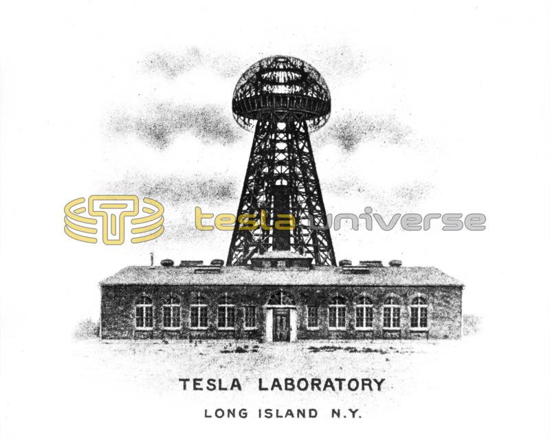 Tesla letterhead showing the Wardenclyffe lab and tower