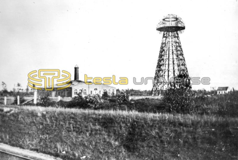A roadside view of the Tesla Wardenclyffe tower and lab