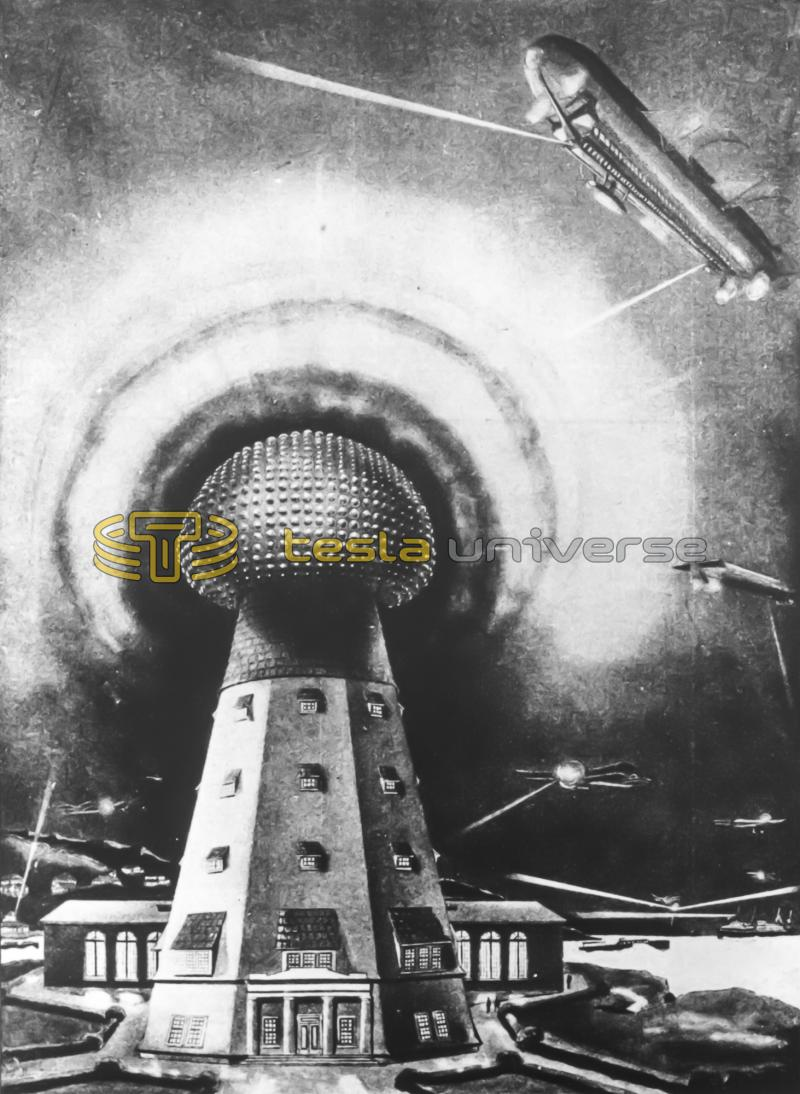 Illustration of Tesla's Wardenclyffe tower in full operation