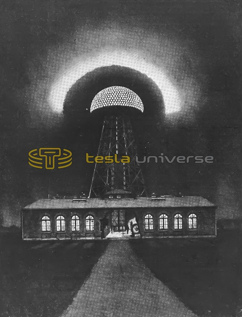 Probable appearance of Tesla's Wardenclyffe tower at night