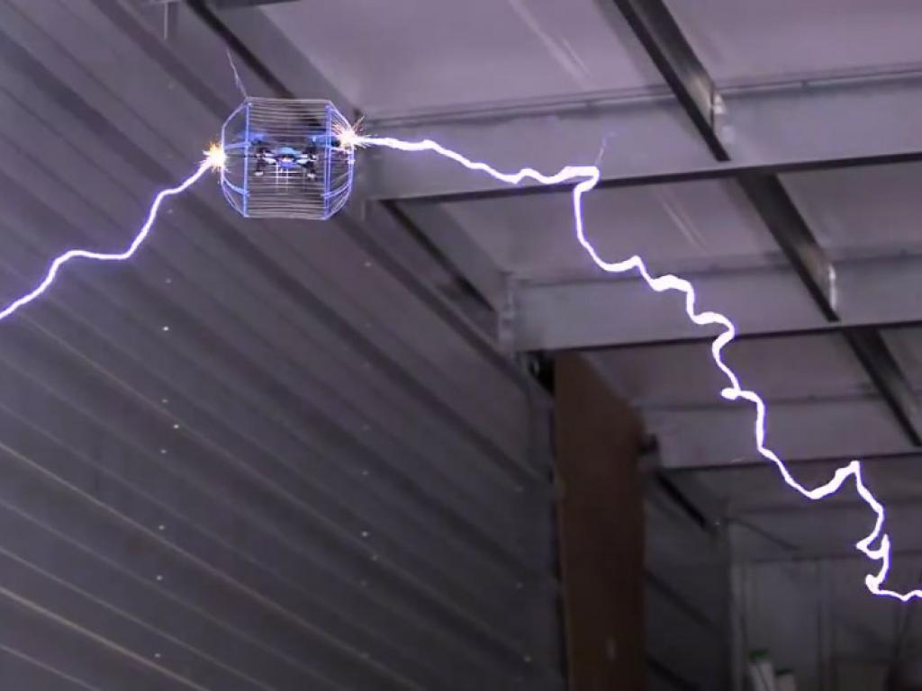 Drone wrapped in Faraday cage