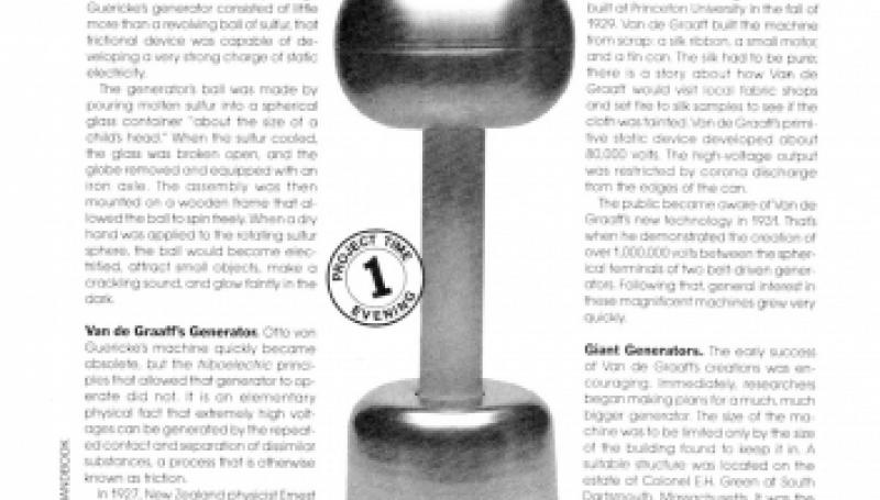 Preview of 200,000-Volt Van de Graaff Generator plan