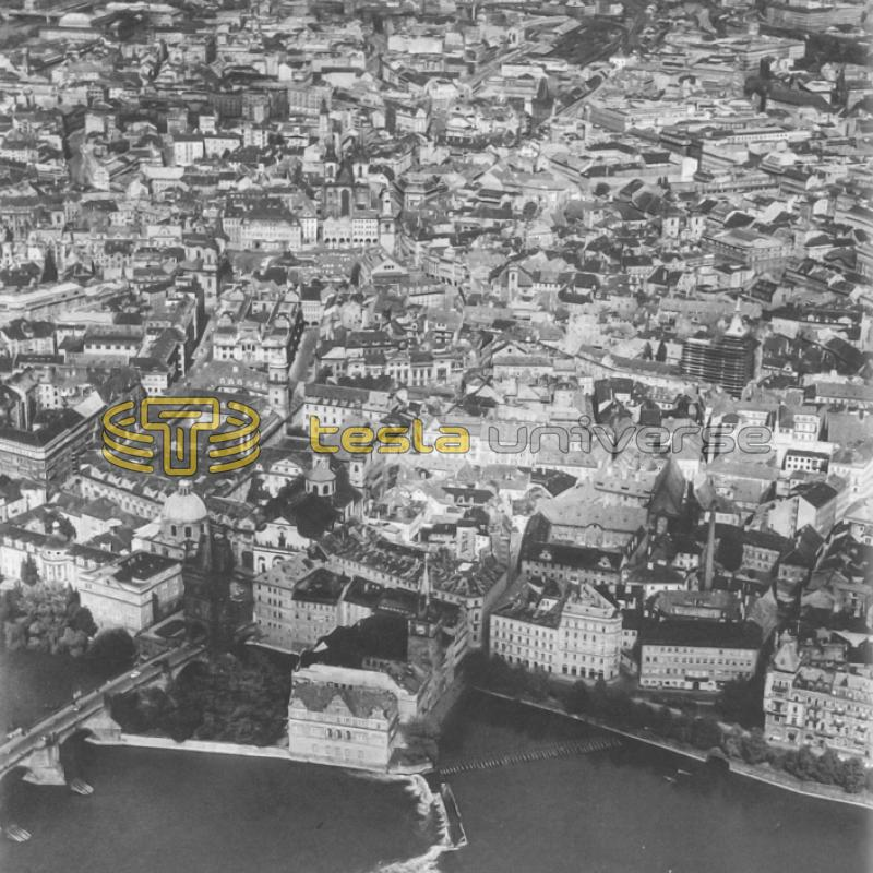 Aerial view of Prague, Czech Republic where Tesla tried to go to school
