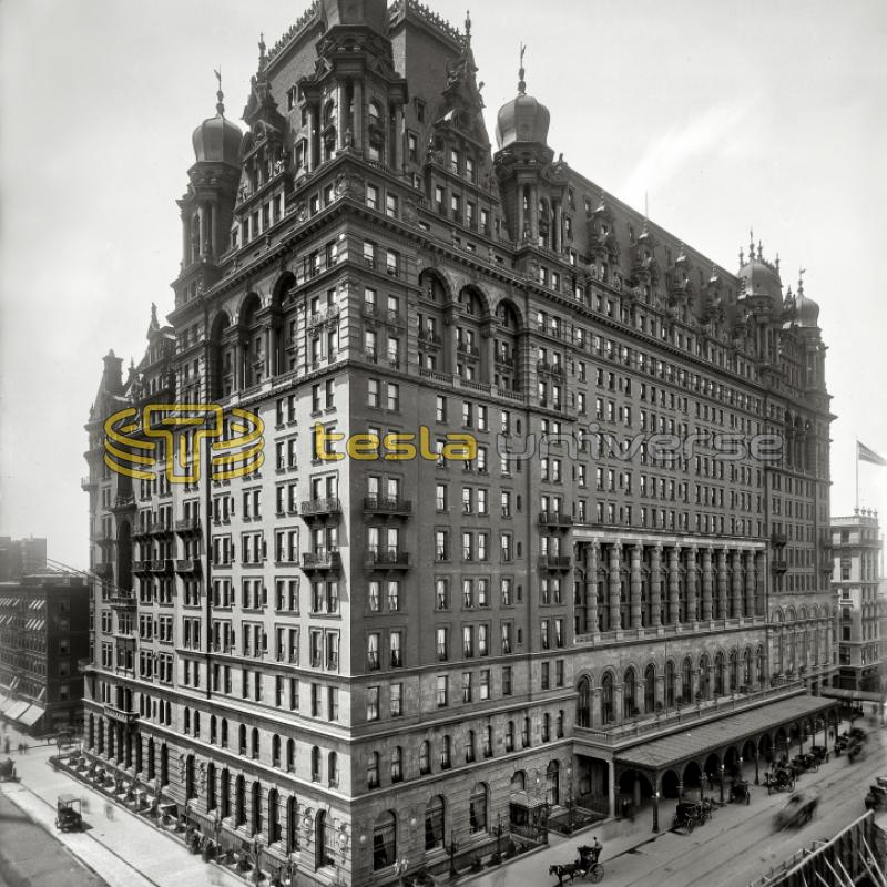 Waldorf-Astoria hotel in New York from around the time Tesla stayed there