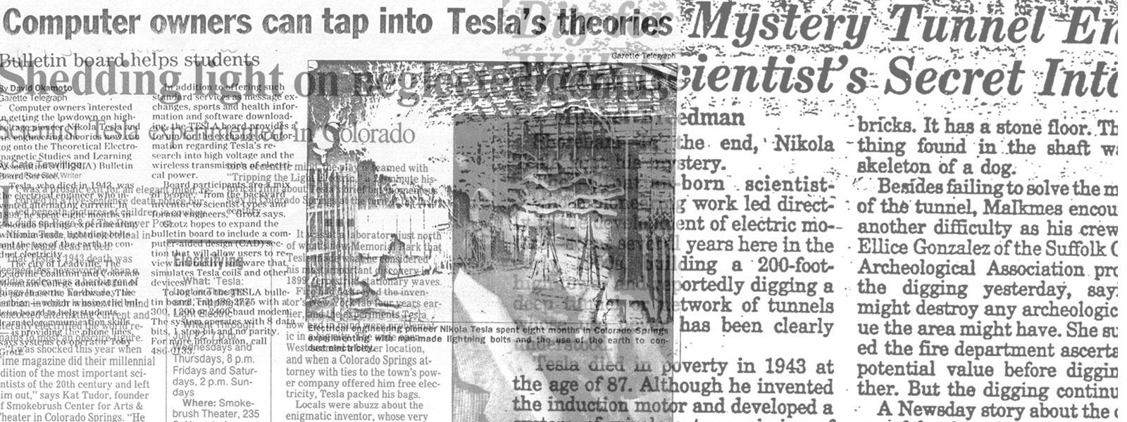 Newspaper and magazine articles related to Nikola Tesla