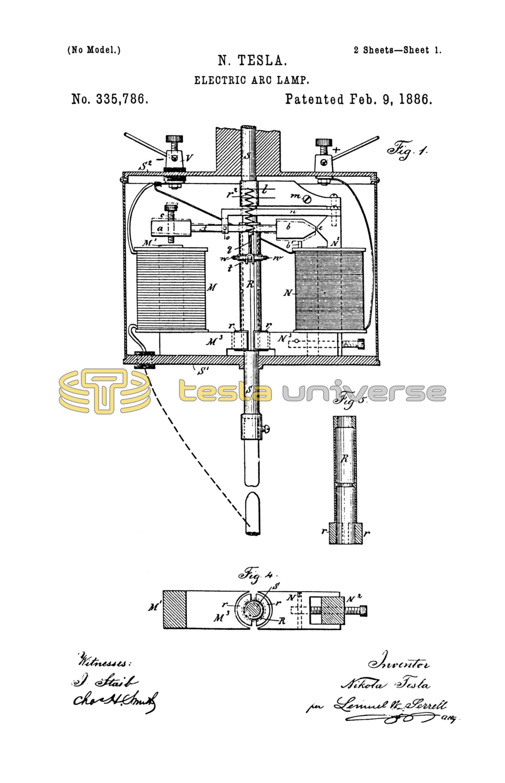 Nikola Tesla U S  Patent 335,786 - Electric-Arc Lamp