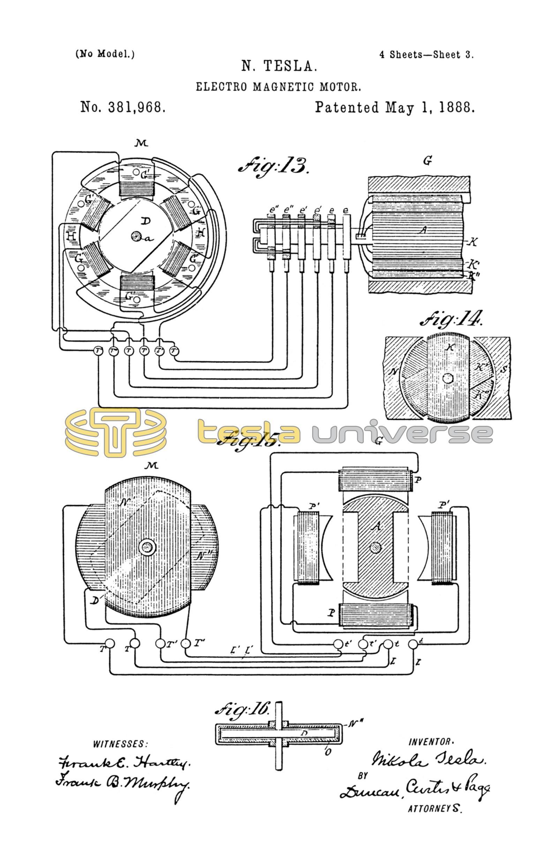 Nikola Tesla U S  Patent 381,968 - Electro-Magnetic Motor