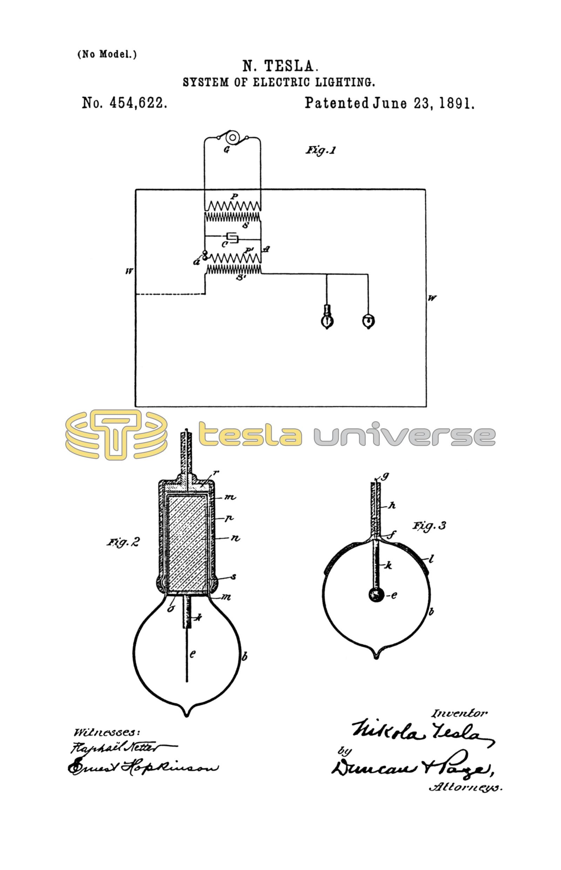 Nikola Tesla U S  Patent 454,622 - System of Electric Lighting