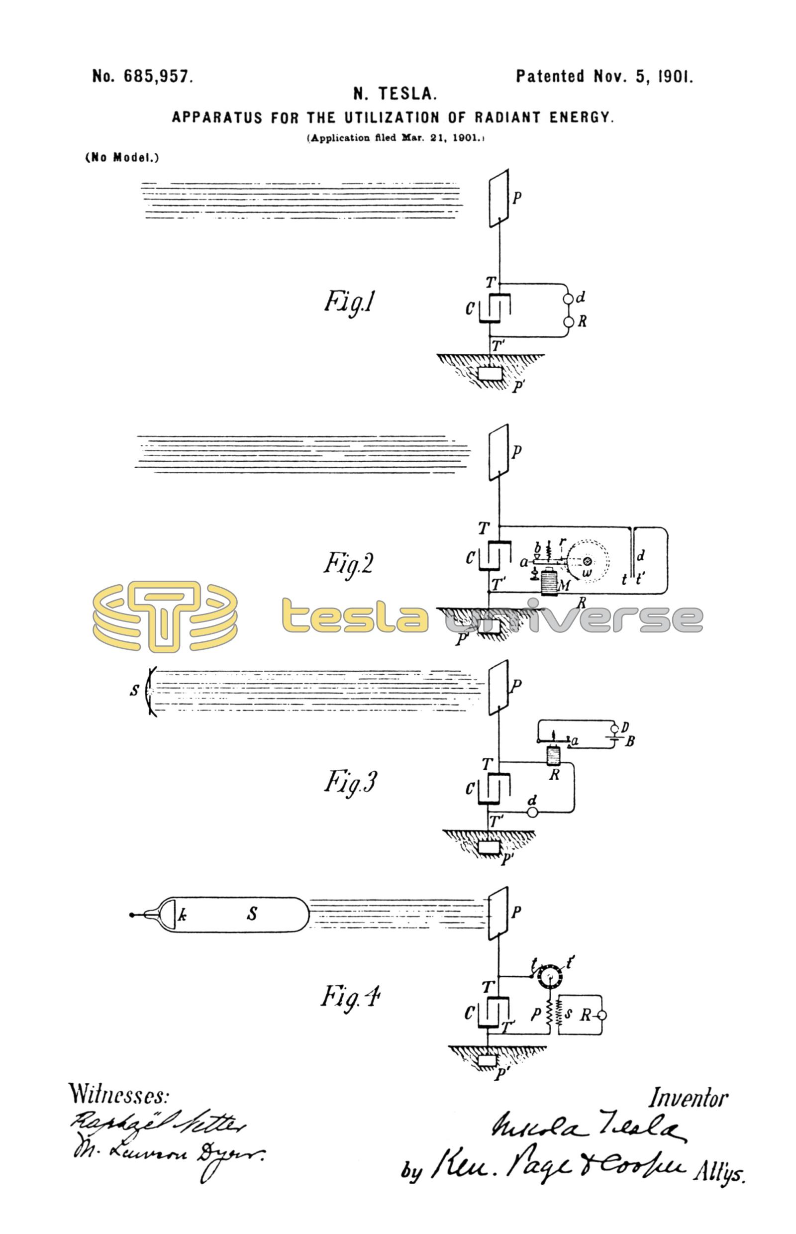 Nikola Tesla U S  Patent 685,957 - Apparatus for the