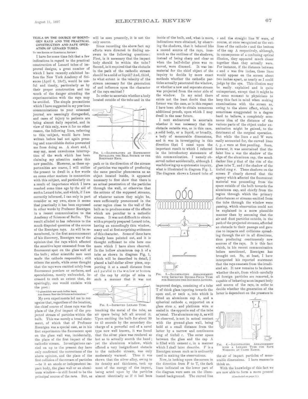 Preview of Tesla on the Source of Roentgen Rays and the Practical Construction and Safe Operation of Lenard Tubes article