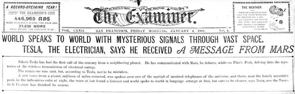 Preview of World Speaks to World with Mysterious Signals through Vast Space - Tesla, The Electrician, Says He Received a Message from Mars. article