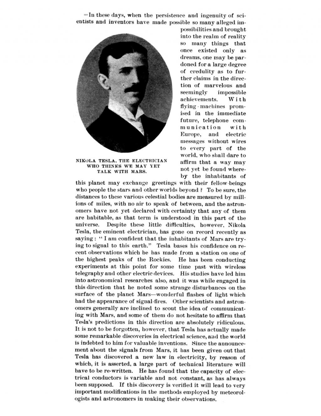 Preview of Nikola Tesla, The Electrician Who Thinks We May Yet Talk With Mars article