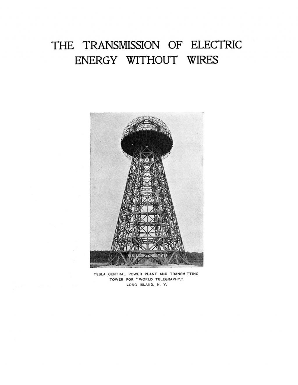 Preview of The Transmission of Electric Energy Without Wires article