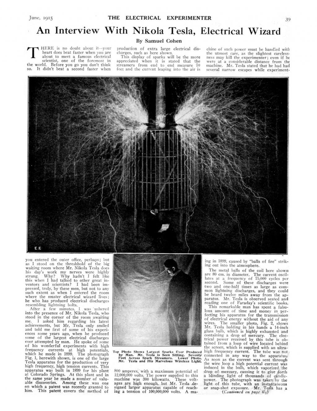 Preview of An Interview With Nikola Tesla, Electrical Wizard article