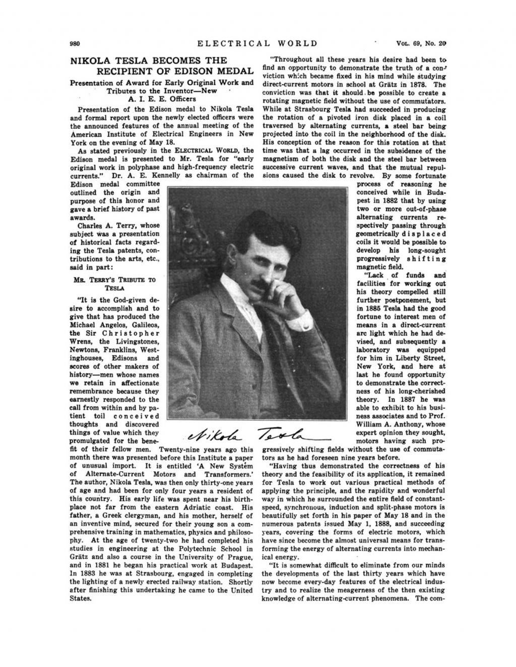 Preview of Nikola Tesla Becomes the Recipient of Edison Medal article