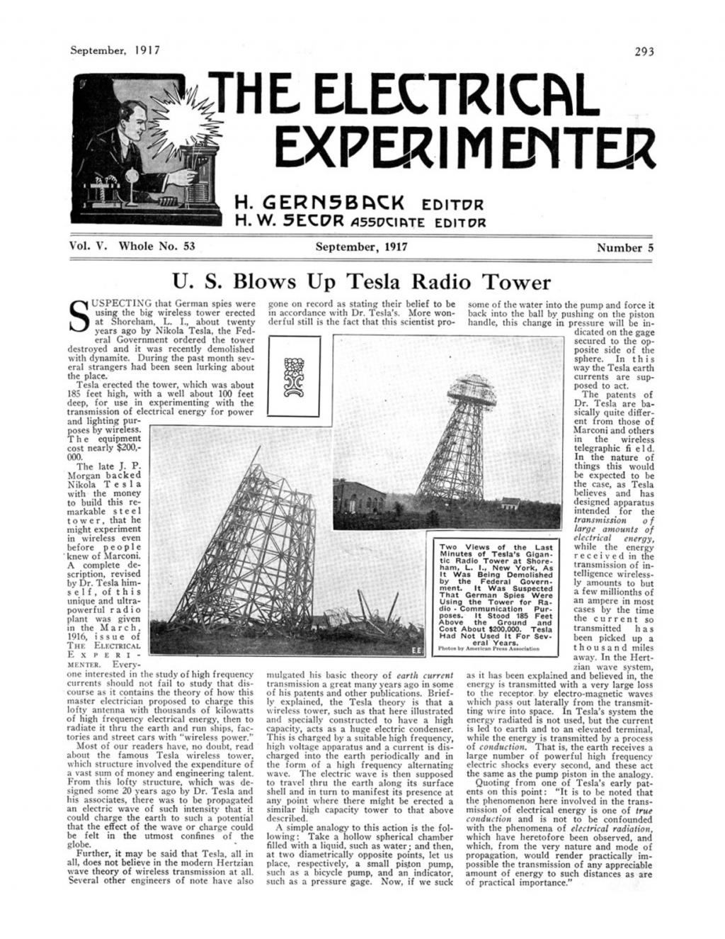 Preview of U. S. Blows Up Tesla Radio Tower article