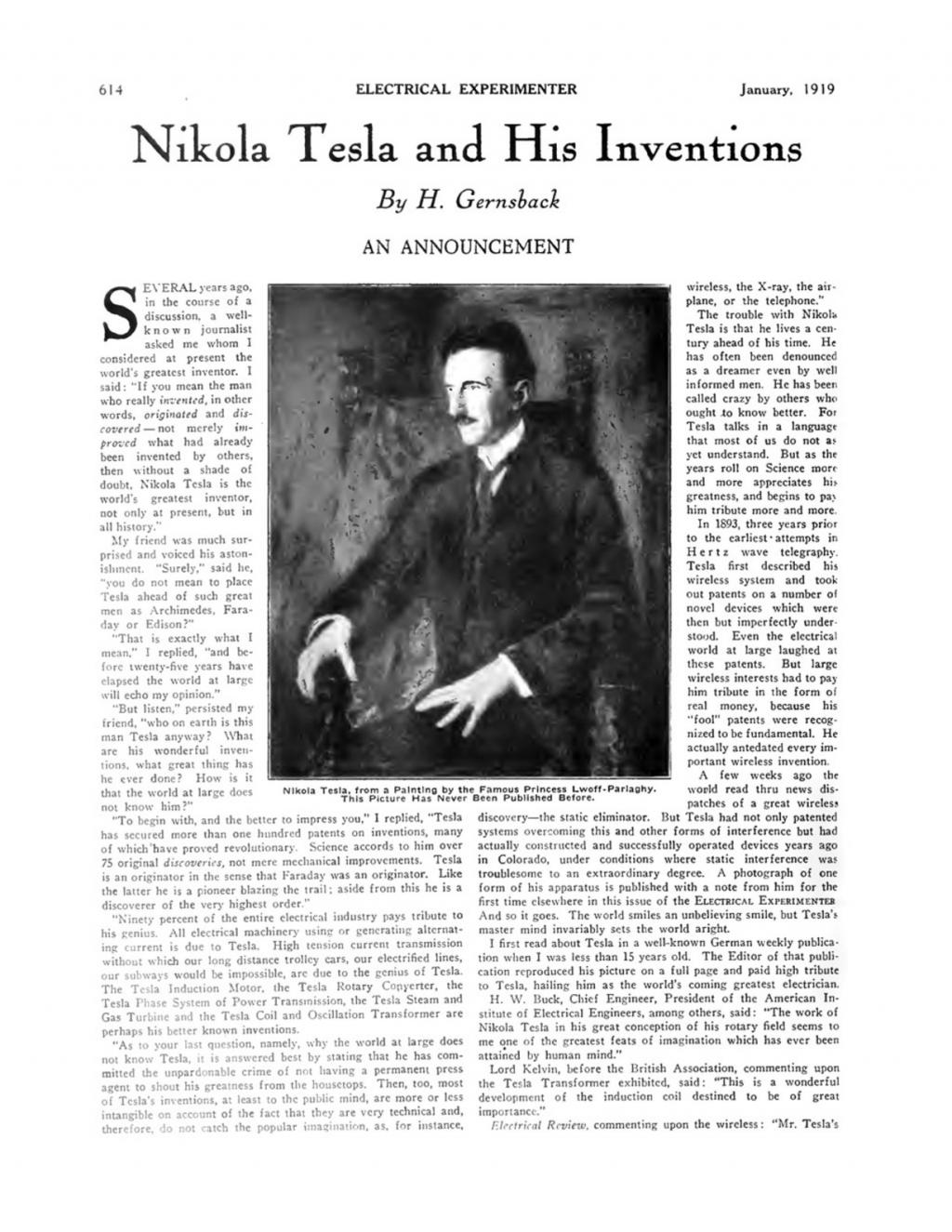 Preview of Nikola Tesla and His Inventions - An Announcement article