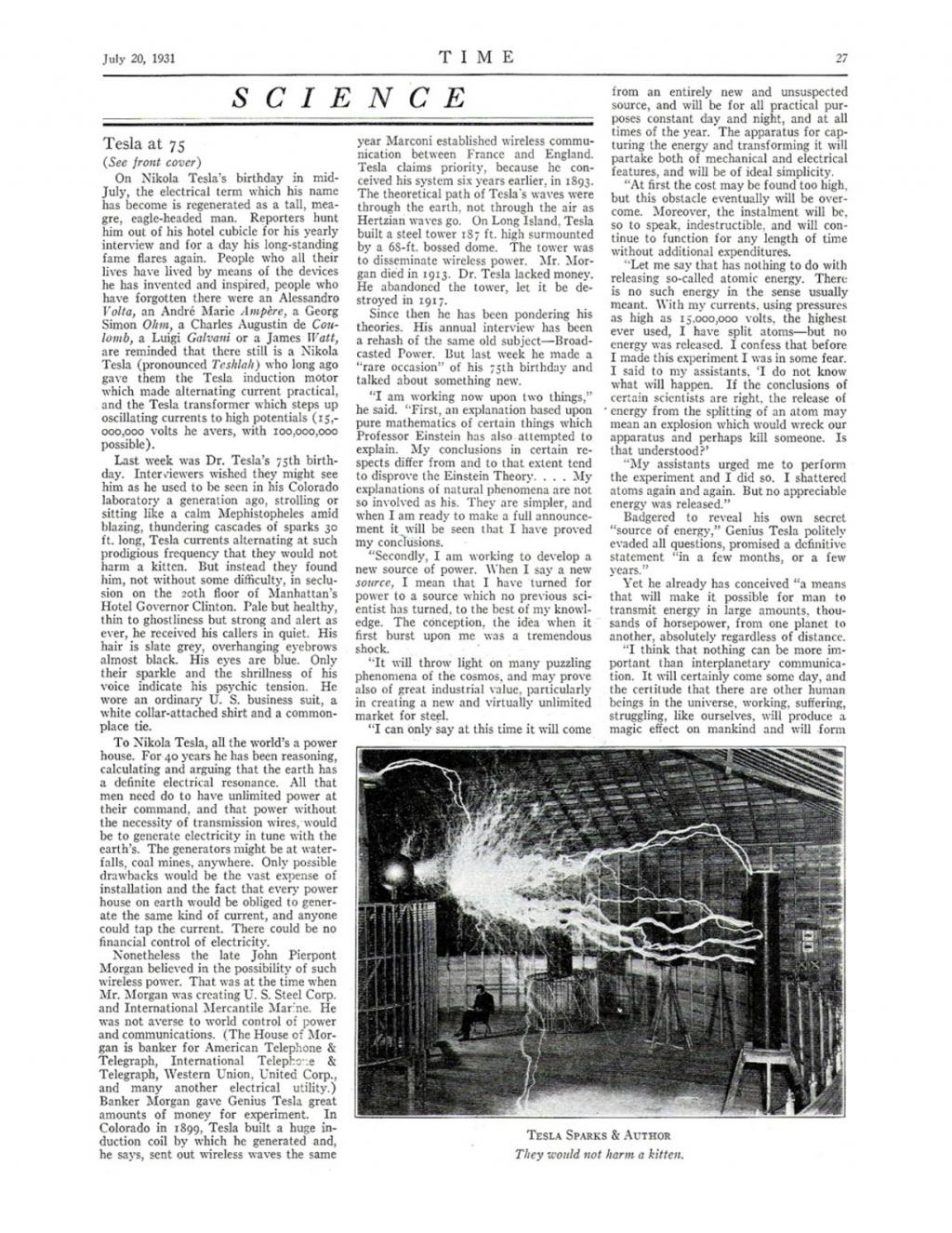 Preview of Nikola Tesla at 75 article