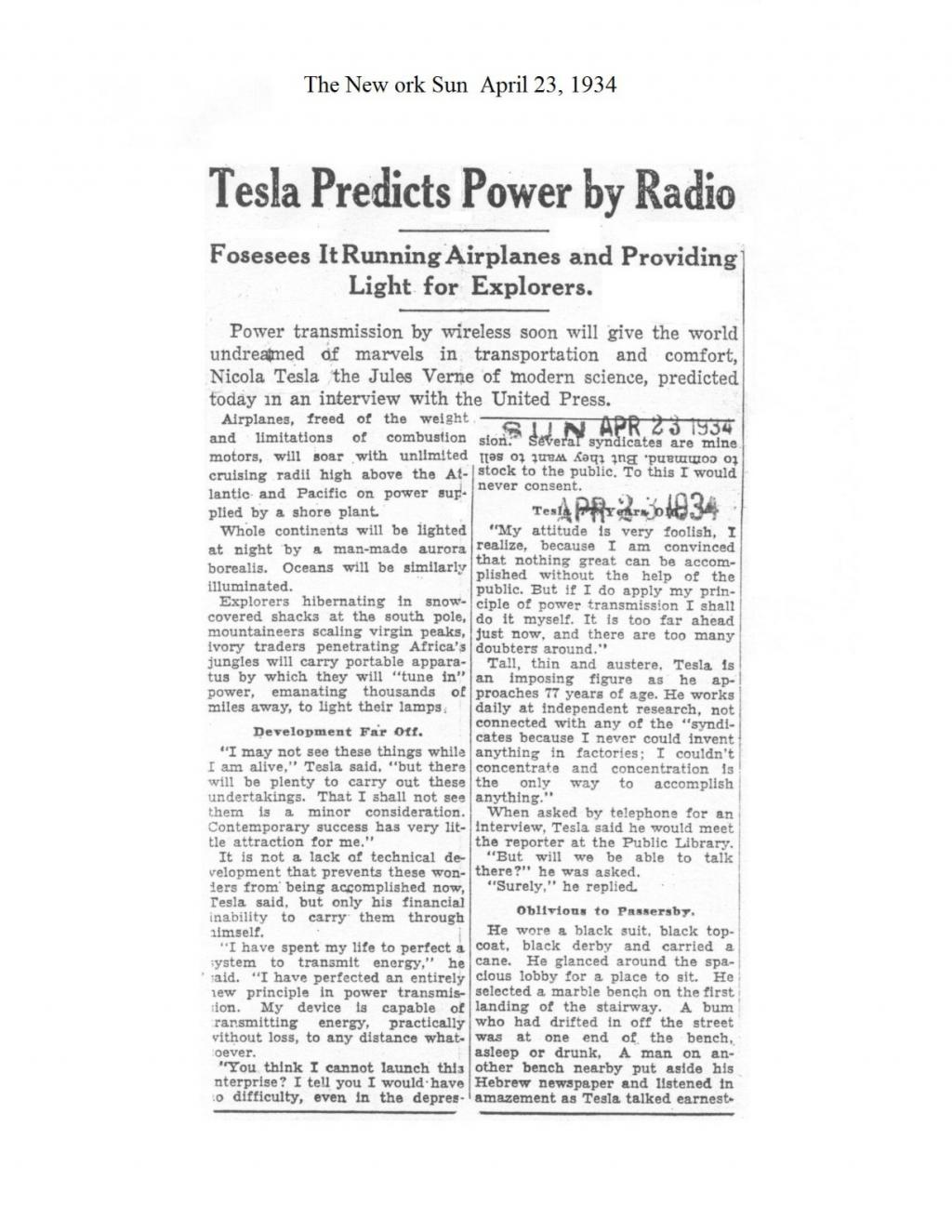 Preview of Tesla Predicts Power by Radio article
