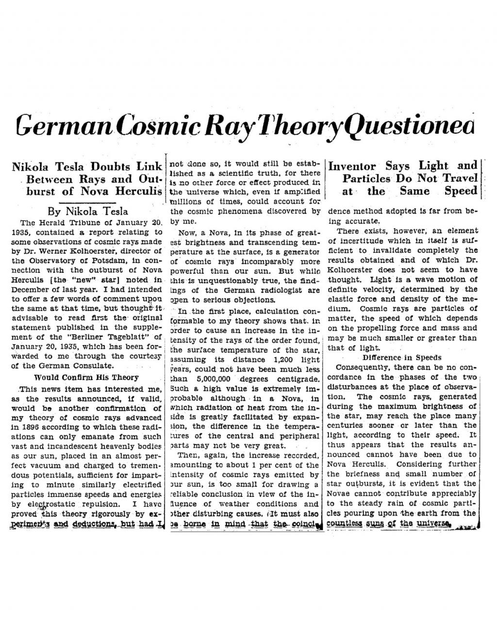 Preview of German Cosmic Ray Theory Questioned article