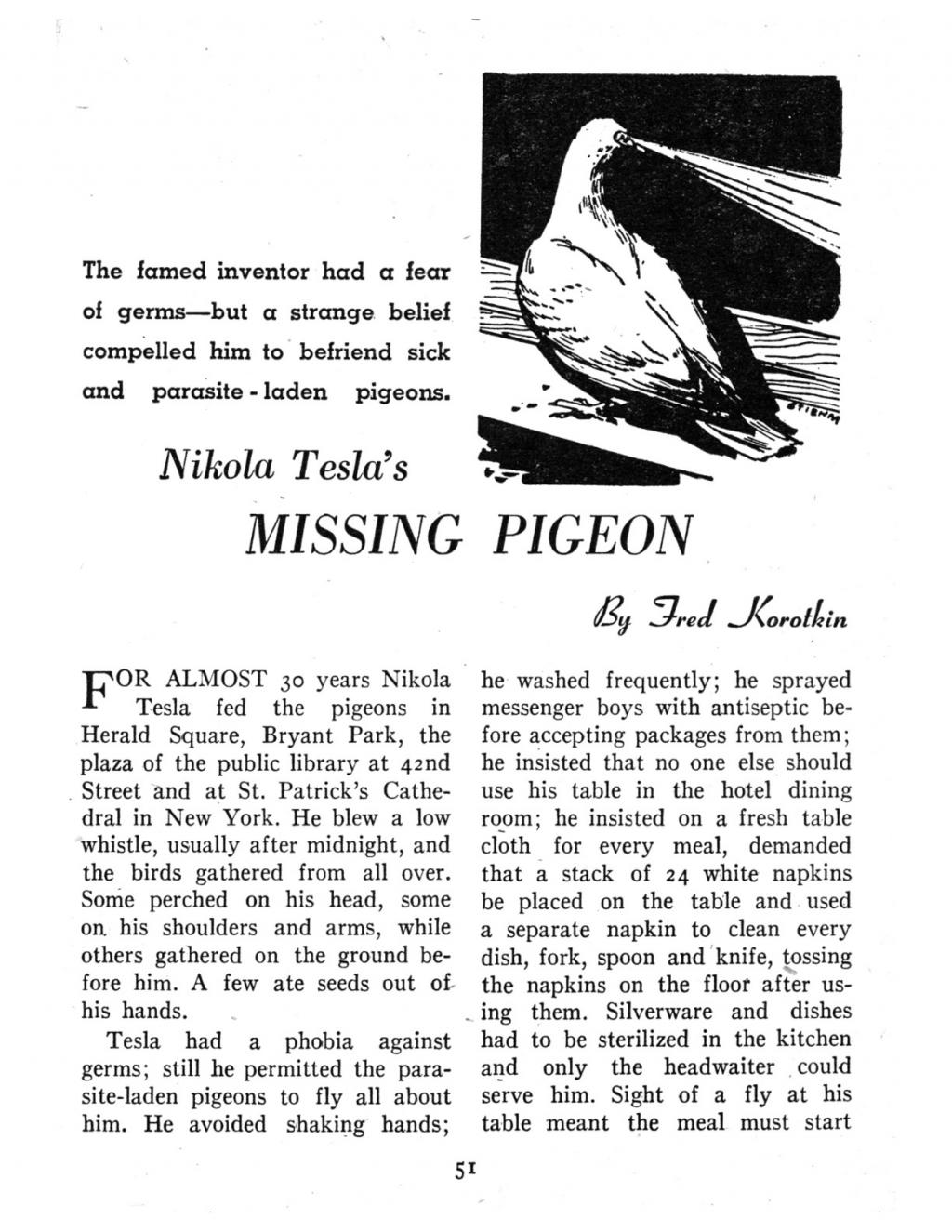 Preview of Nikola Tesla's Missing Pigeon article
