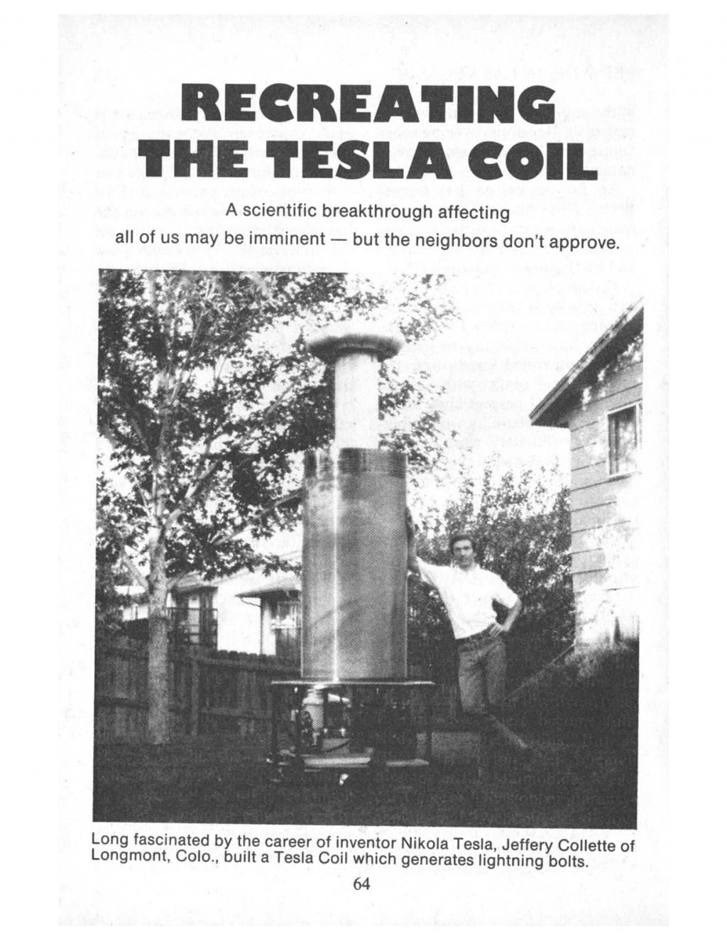 Preview of Recreating the Tesla Coil article