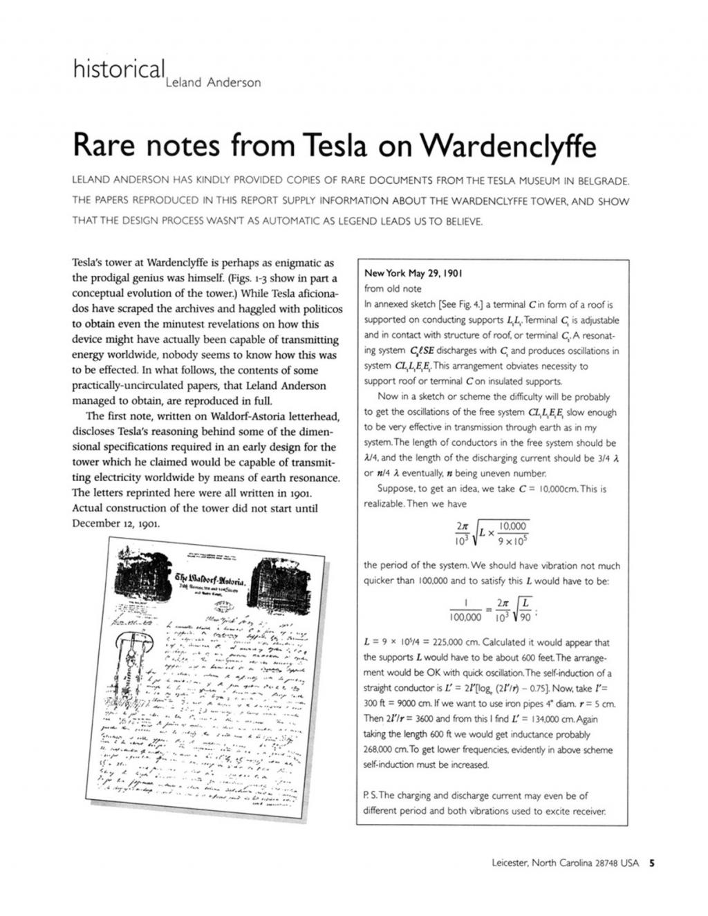 Preview of Rare notes from Tesla on Wardenclyffe article