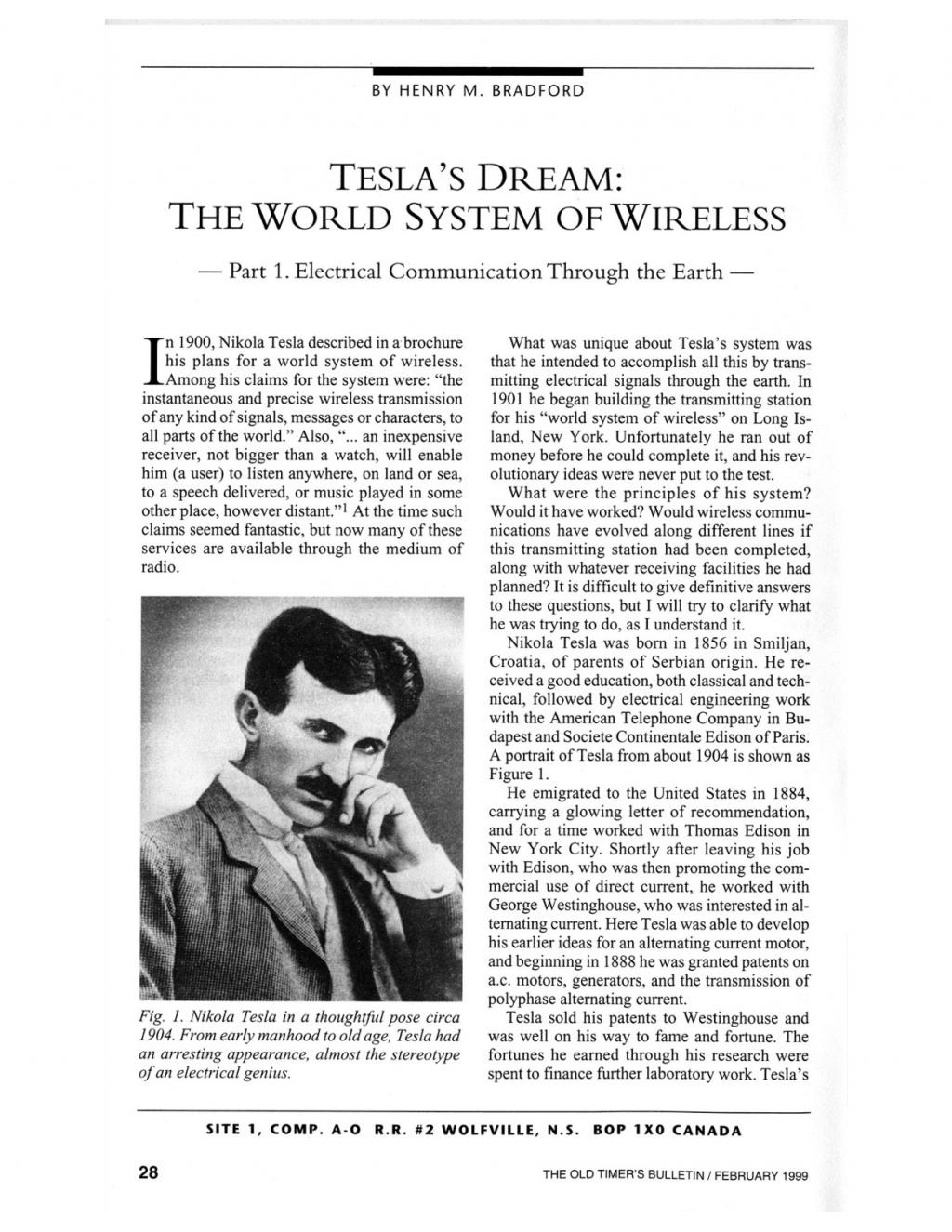 Preview of Tesla's Dream: The World System of Wireless - Part 1 article